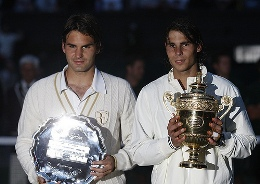 Federer losing to Nadal in the 2008 Wimbledon final