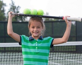 Happy tennis child