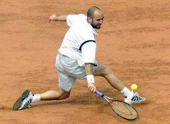 Andre Agassi playing clay court tennis